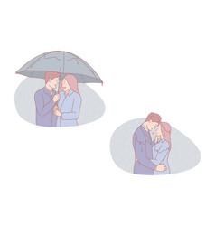Family walk romantic date autumn rendezvous vector