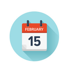 February 15 flat daily calendar icon date vector