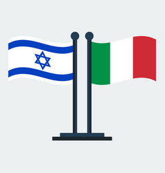 Flag of italy and israel flag stand vector