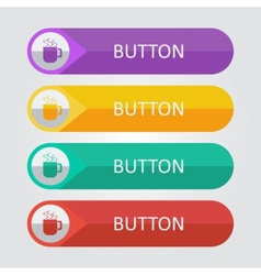 flat buttons with cup icon vector image