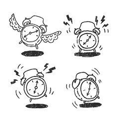 Four alarm clocks icons vector