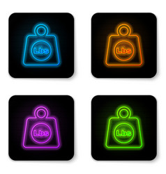 Glowing neon weight pounds icon isolated on white vector
