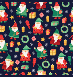 gnomes pattern christmas holiday cute xmas elf vector image