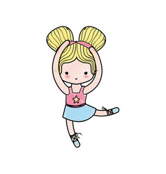 Grated girl dancing ballet with two buns hair vector