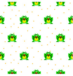 Green frog cartoon pixel art seamless pattern vector
