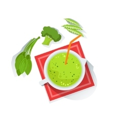 Green Smoothie With Broccoli Peas And Spinach vector