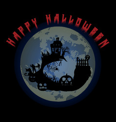 halloween party pumpkin castle trees bats and vector image