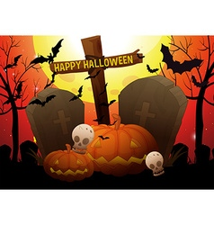Halloween theme with graveyard and pumpkin vector image