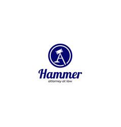 Hammer attorney at law logo design vector