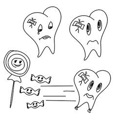 hand drawn funny teeth icons set vector image