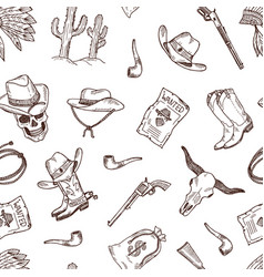hand drawn wild west cowboy pattern or vector image