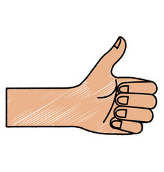 Hand human with like gesture vector