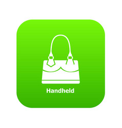 Handheld bag icon green vector