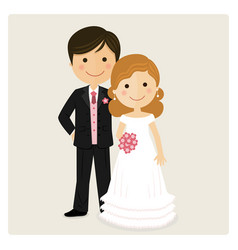 Happy just married on their wedding day vector