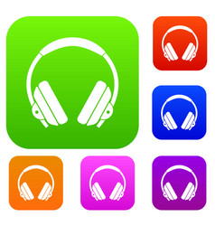 headphone set color collection vector image