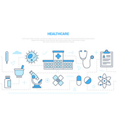 Healthcare concept with icon set collection like vector
