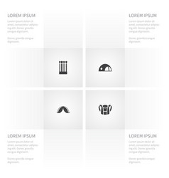 Icon campsite set of fire luggage stall and vector
