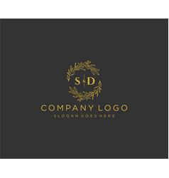 Initial sd letters floral frames monogram wedding vector