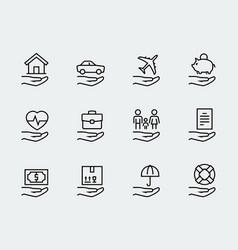 insurance related icon set in thin line style vector image