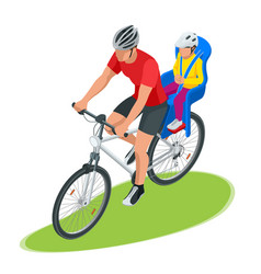Isometric family biking young father safety vector