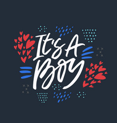 its a boy flat lettering vector image
