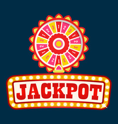 jackpot neon signboard light bulbs fortune wheel vector image