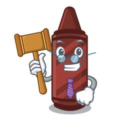 Judge brown crayon in cartoon shape vector