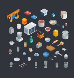 kitchen utensils isometric icons vector image
