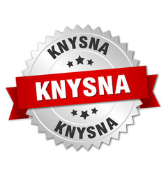 knysna round silver badge with red ribbon vector image