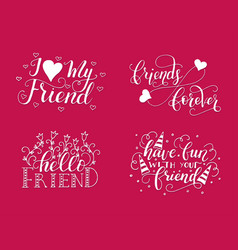 lettering set for friendship day vector image