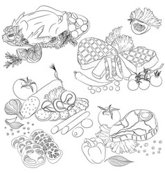 Line art various meat products vector