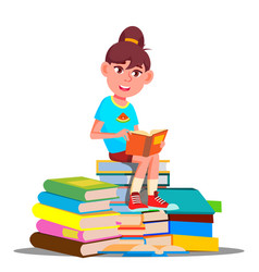 Little girl sitting on top of a pile of books vector