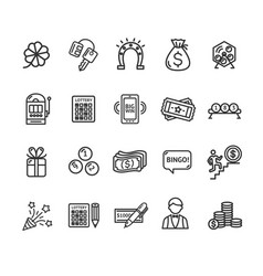 lotto signs black thin line icon set vector image