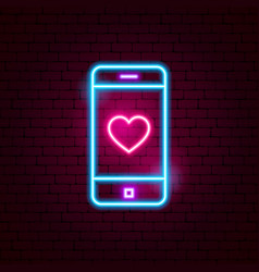 Love mobile neon sign vector