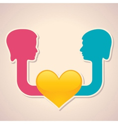 male and female face with heart symbol vector image