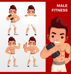 man male fitness mascot character set logo icon vector image