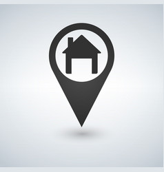map pointer with house icon vector image