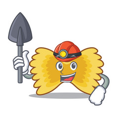 Miner farfalle pasta mascot cartoon vector