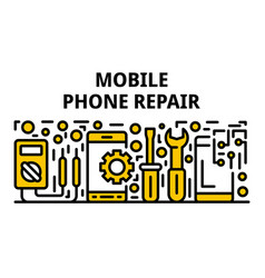 Mobile phone repair banner outline style vector