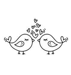 monoline two birds with hearts valentines vector image