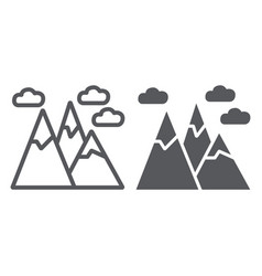 Mountains line and glyph icon landscape and peak vector