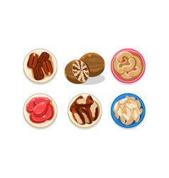 nuts set coffee beans cashews peanuts brazil vector image