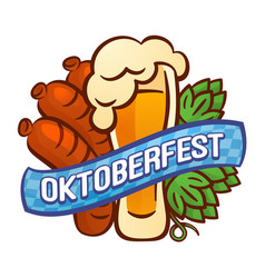 Oktoberfest logo cartoon style vector