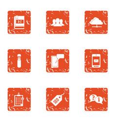 optimization icons set grunge style vector image