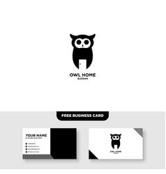 Owl farm logo design and business card template vector