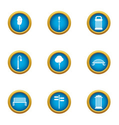 Plaza icons set flat style vector