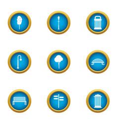 Plaza icons set flat style vector