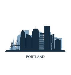 Portland skyline monochrome silhouette vector