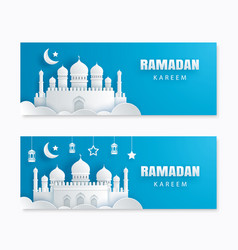 ramadan kareem greeting card with crescent moon vector image