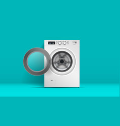 realistic washing machine front view steel vector image
